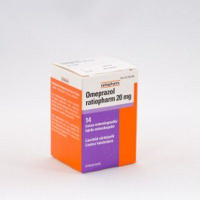 OMEPRAZOL RATIOPHARM 20 mg enterokaps, kova 14 kpl