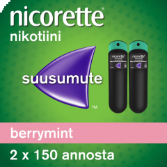 NICORETTE BERRYMINT 1 mg/annos sumute suuonteloon, liuos 2x150 annosta